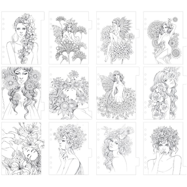 Princesses Fairies & Flowers My Prima Planner Coloring Tabbed Dividers 12/Pkg