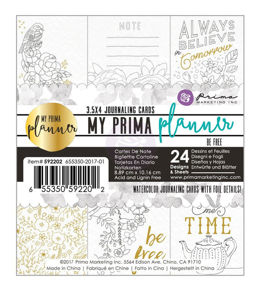 Be Free Coloring Journaling Cards My Prima Planner Embelishments