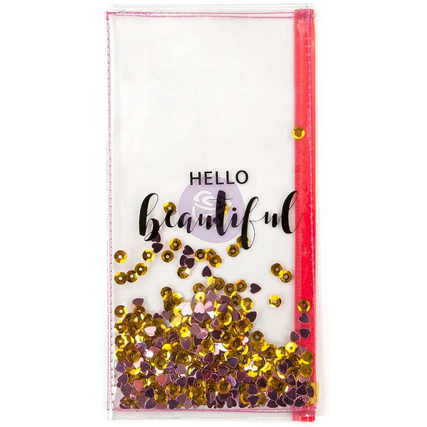 Hello Beautiful Prima Traveler's Journal Clear Shaker Pouch