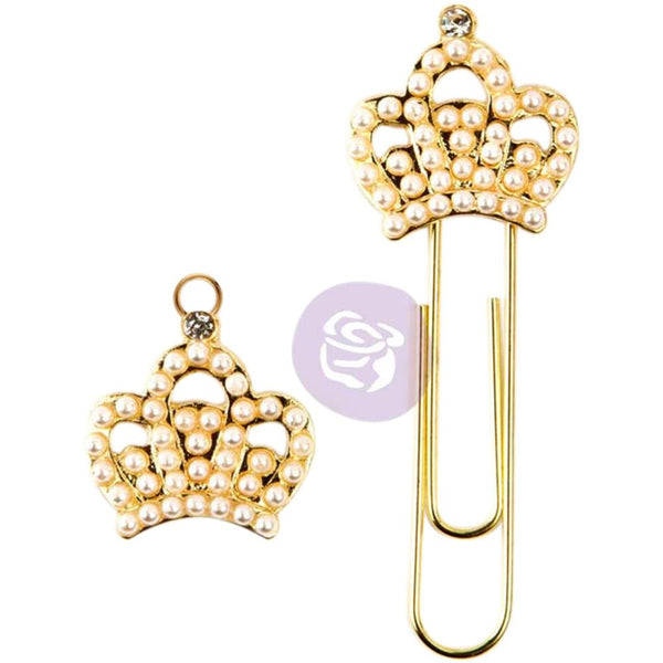 PTJ Pearl & Gold Crown Prima Traveler's Journal Decorative Clip and Charm Set
