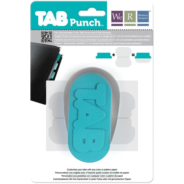 WE R MEMORY KEEPERS Tab Punch. Customize your own tabs by using any color or patterned paper (not included) with this tab punch. In as little as 1, 2, 3, you can easily create custom tabs in any color and with any patterned paper. Simply punch out tab from desired paper, peel off the Tab Sticker backing, line them up and adhere. Each punch comes with 6 Tab Stickers.
