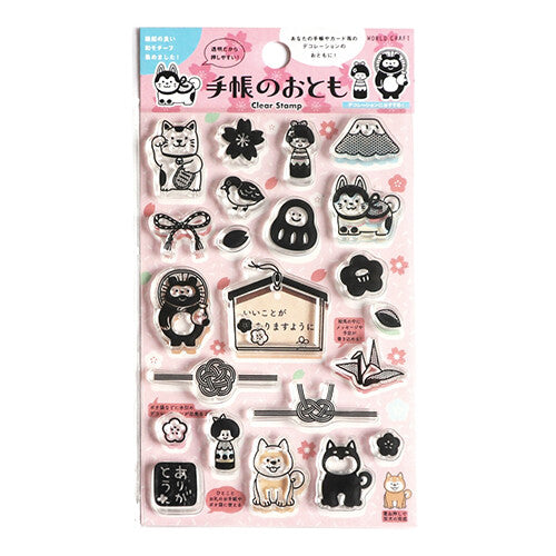 Clear Stamp Set with Japanese motif like Shiba Inu Dog, Kokeshi Doll, Mt Fuji, Cherry Blossom Sakura Flower, Fortune Cat and more!! Perfect for decorating your planner, scrapbook or crafting project.