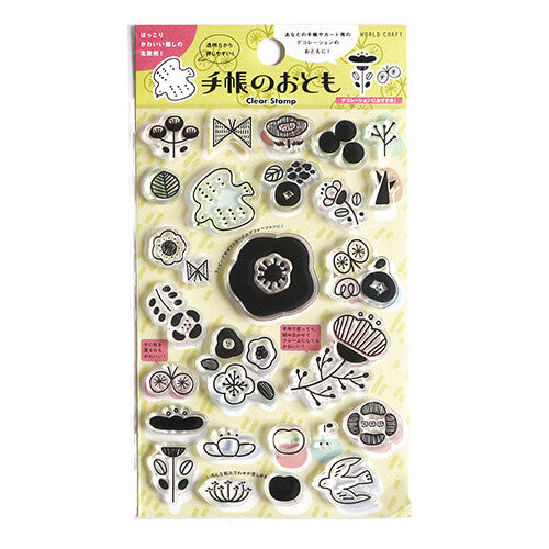 Clear Stamp Set with cute motif like flower, butterfly, tree and more! Perfect for decorating your planner, scrapbook or crafting project.