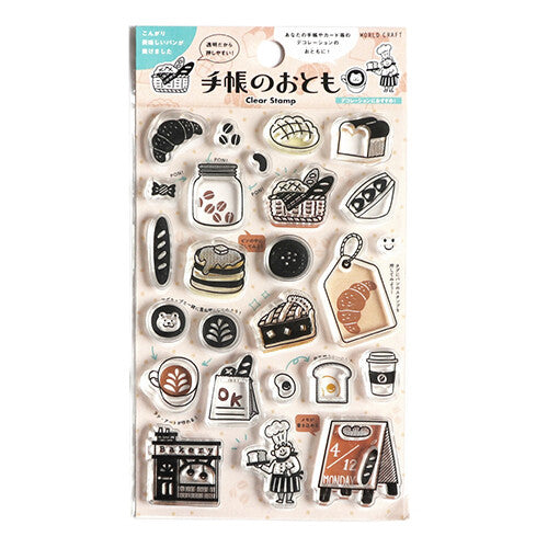Clear Stamp Set with cute cafe motif like coffee, sign, bread, cake, tag, pancake and more! Perfect for decorating your planner, scrapbook or crafting project.