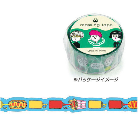 Mind Wave Masking Tape Fast Food including hot dog, french fries, mustard and ketchup, made in Japan.