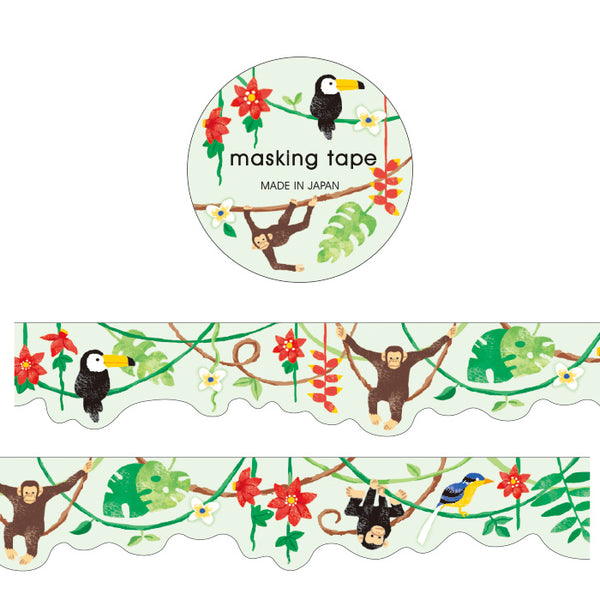 Mind Wave Jungle / Rainforest with Toucan and Monkey Masking Tape - Great for border and on top of the spreads.