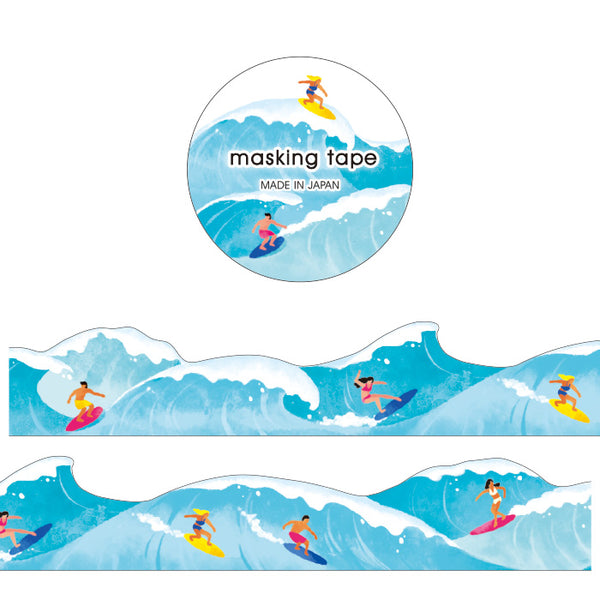 Surfing Die Cut Japanese Washi Tape Mind Wave - Surfer, surfing, waves and surfboard