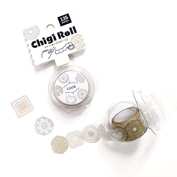 Lace Chigi Roll, 135pcs in a roll, it's perforated making it so easy to share with friends or include a few in the happy mails and swag bags =)