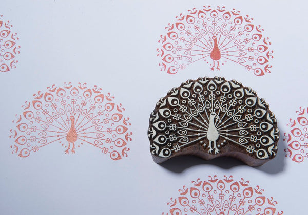 Beautiful Peacock Blockwallah Block Stamp