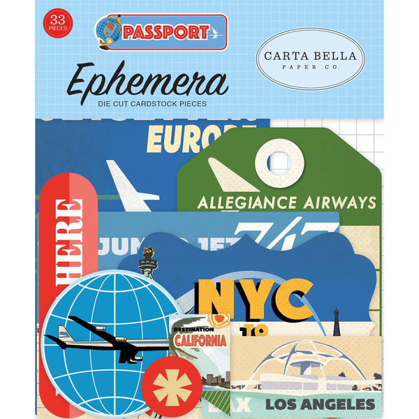 "Carta Bella Collection Passport Ephemera- 33 die cut cardstock pieces include frames, tags, pennant flags, globes, planes, captions of London, Europe By Rail, Ready Set Go, Italy, and more. Largest measures approximately 4.5""x 3""."
