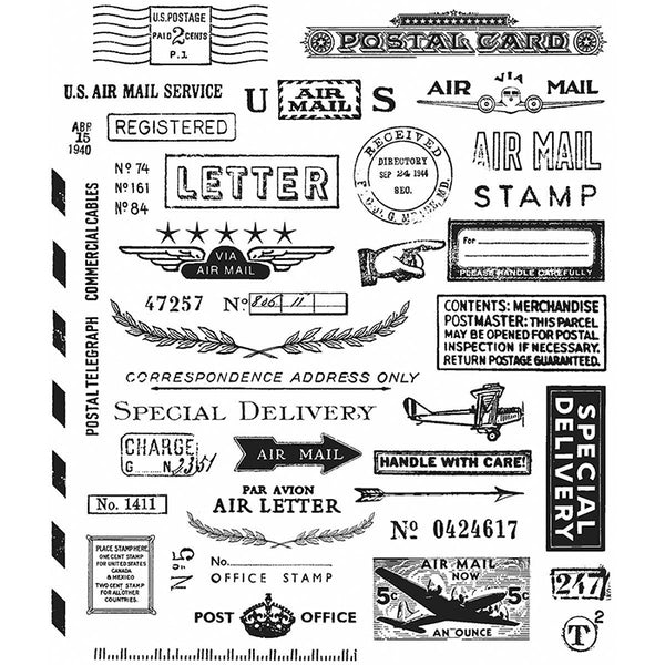 Correspondence Tim Holtz Cling Stamps including Air Mail, Special Delivery, Stamp, US Airmail Service, Handle with care, Air Letter, Letter, Post office and etc. These red rubber stamps come mounted on cling foam so you can use them with any acrylic block