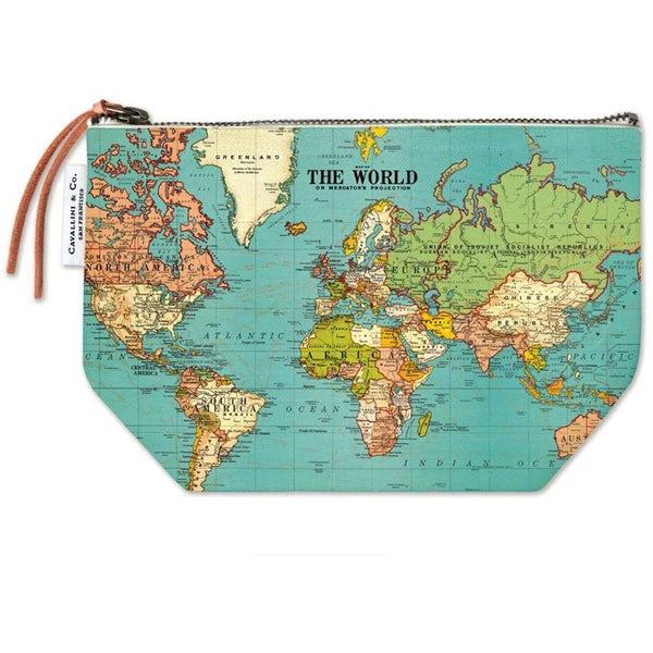 Cavallini & Co. Vintage Pouch World Map