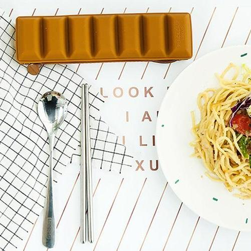 Chocolate Stainless Steel Chopsticks, Spoon and Holder Set