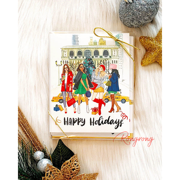 Christmas in the City! Send a chic season's greeting with this festive card from Rongrong DeVoe! Each card comes with a coordinating gold envelope.