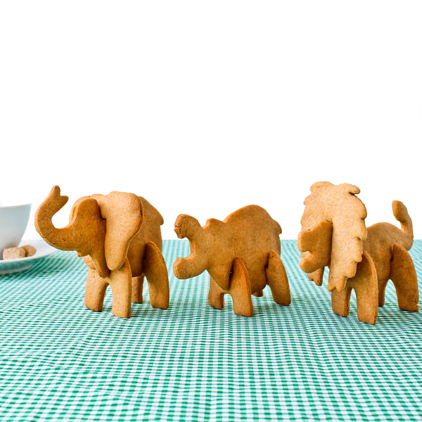 Bake your own 3D Safari Animals with these cookie stencils in the shape of safari animal body parts.