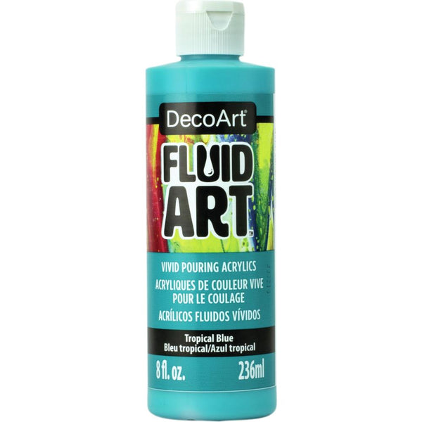 DecoArt FluidArt Ready-To-Pour Acrylic Paint Tropical Blue 8oz