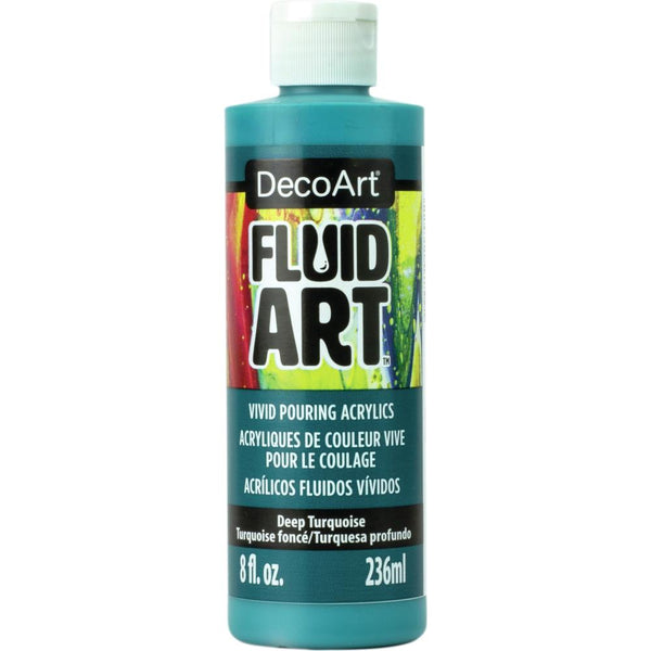 DecoArt FluidArt Ready-To-Pour Acrylic Paint Deep Turquoise 8oz
