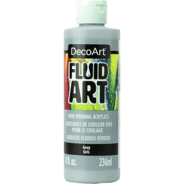 DecoArt FluidArt Ready-To-Pour Acrylic Paint Grey 8oz