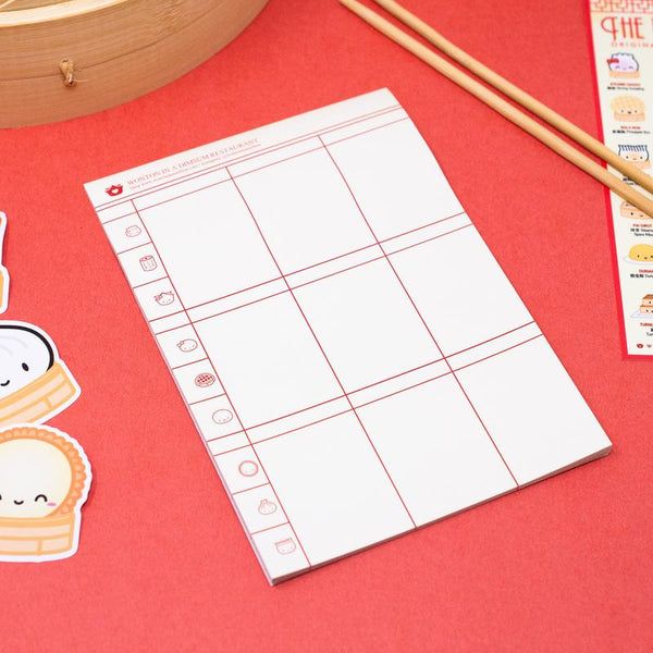 "Take notes of things or make lists with this jumbo 5x7"" Dumpling Day notepad with the design of a dimsum check!"