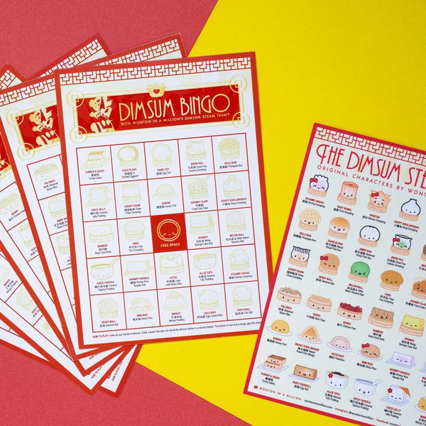 Includes 5 bingo cards and 5 collectible sticker sheets for a delicious game of DIMSUM BINGO 🙂  I designed this hoping to inspire you to go patronize your local dimsum restaurants, pick up some takeout, try some new dishes! Chinese restaurants and Chinatowns all over have been struggling from COVID and anti-Asian sentiment since February. If it's safe in your area to do so, here's how to play: