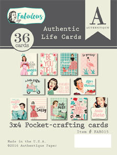 "Fabulous Authentic Life Cards Pocket Crafting & Journaling 3""X4"" Cards"