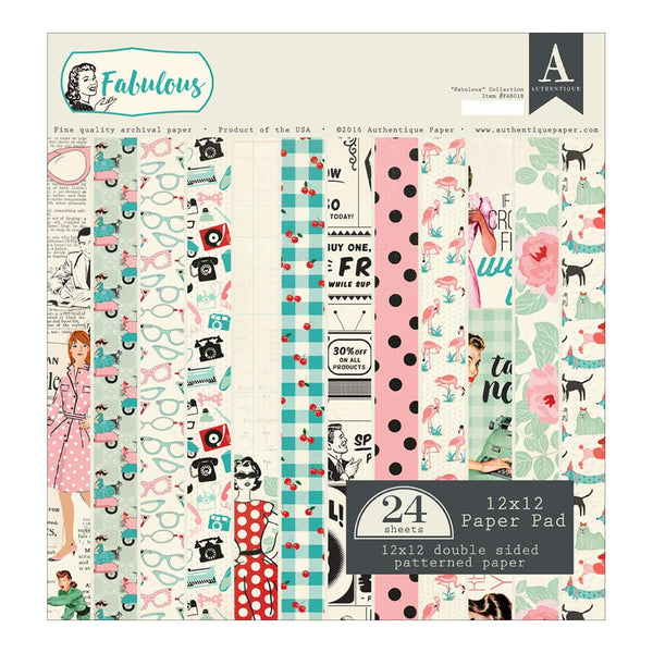 "Fabulous Authentique Double-Sided Cardstock Pad 12""X12"" 24/Pkg"