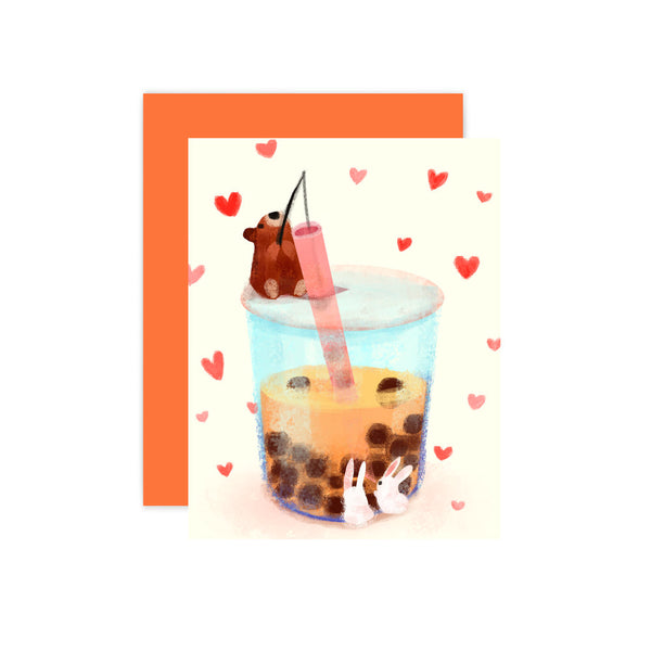 Boba Milk Tea Blank Card by The Little Red House