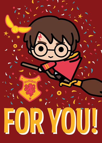 Chibi Harry Potter is chasing the Golden Snitch straight to the birthday party, gift in hand! Perfect for any young witch, wizard, or Potter-loving muggle!