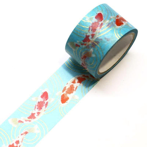 Koi Fish with Gold Foil Kimono Japanese Washi Tape
