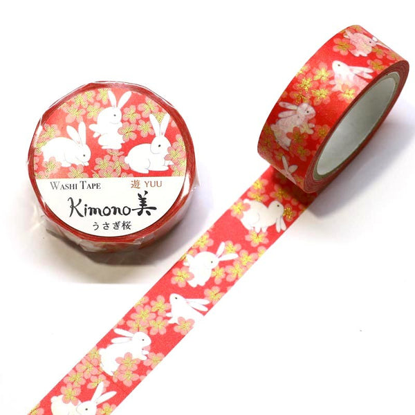 Bunny Kimono Japanese Washi Tape Rabbit Gold Foil Tape.