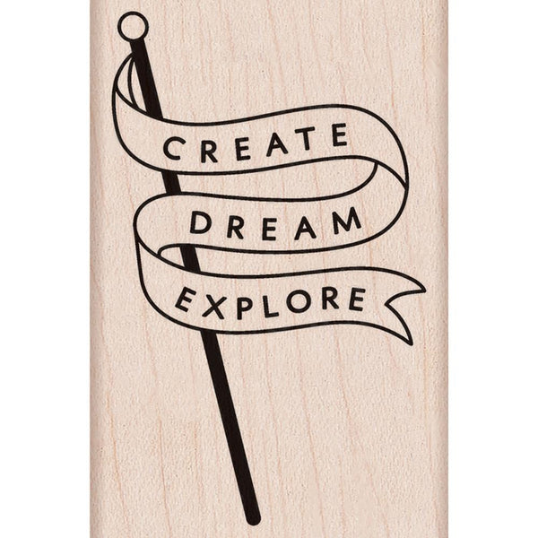 Create Dream Explore Banner Hero Arts Mounted Rubber Stamp