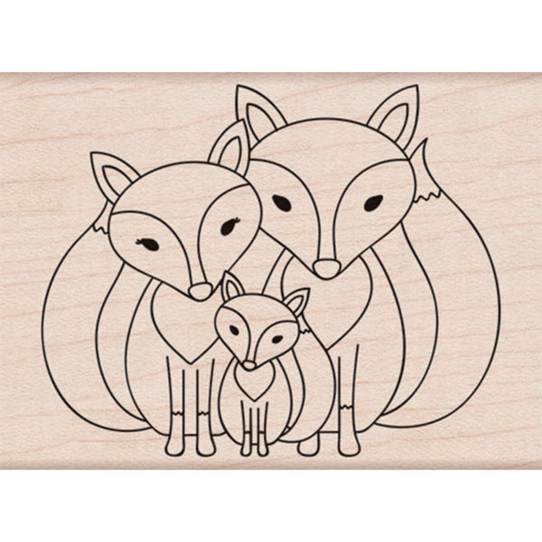 Fox Family Hero Arts Mounted Rubber Stamp