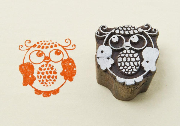 Happy Owl Blockwallah Block Stamp