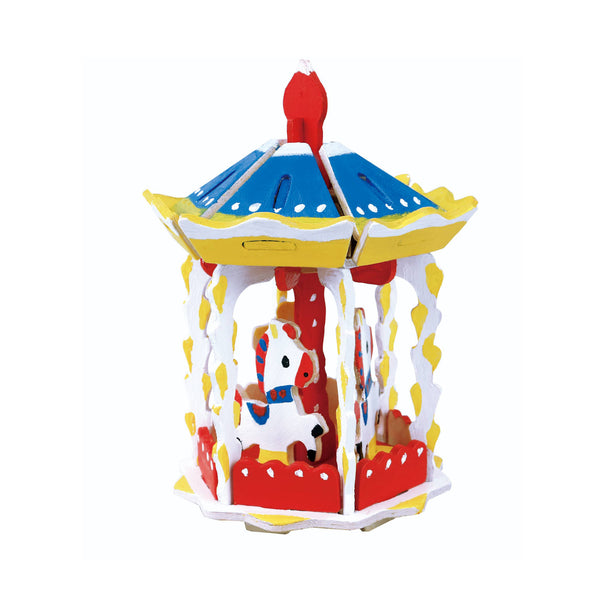 Carousel 3D Wooden Puzzle with Paint Kit