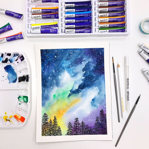 Galaxy Starry Night Sky Watercolor Workshop at Little Craft Place