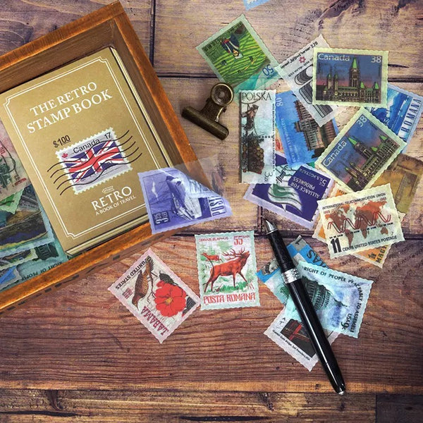 The Retro Stamp Book Flake Sticker 30pcs