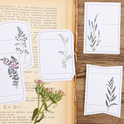 Poetic Leaves Label Writable Flake Sticker 30 Pieces