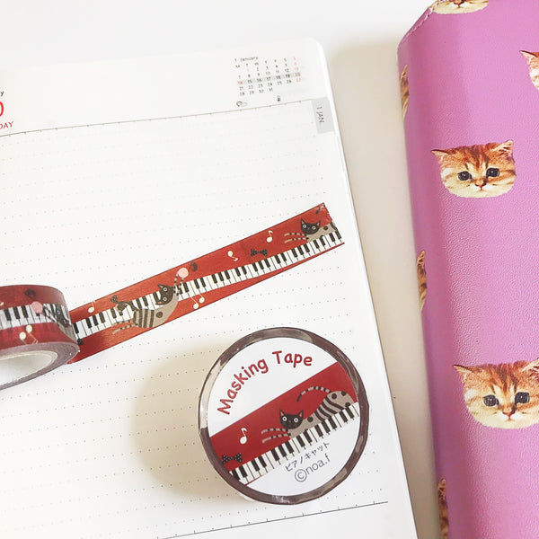 Piano Cat Nao Family Japanese Washi Tape