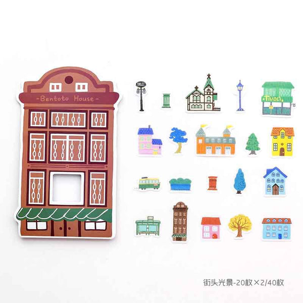 Houses Washi Flake Sticker (40 pieces)