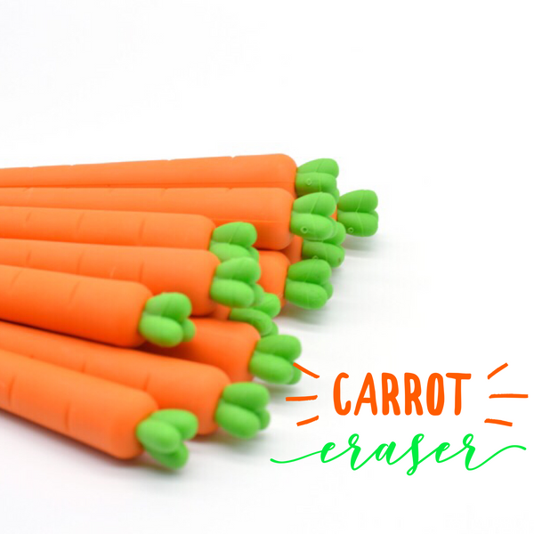 These cute carrot erasers are perfect for school, planning, for work, home, desk, gifts, birthday party, favor or just around the house.