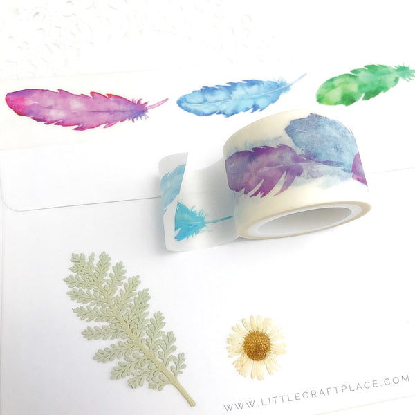 Watercolor Feather Washi Tape
