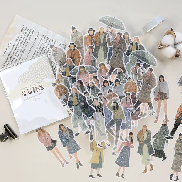 Fashion Folks Washi Flake Sticker (60 pieces)