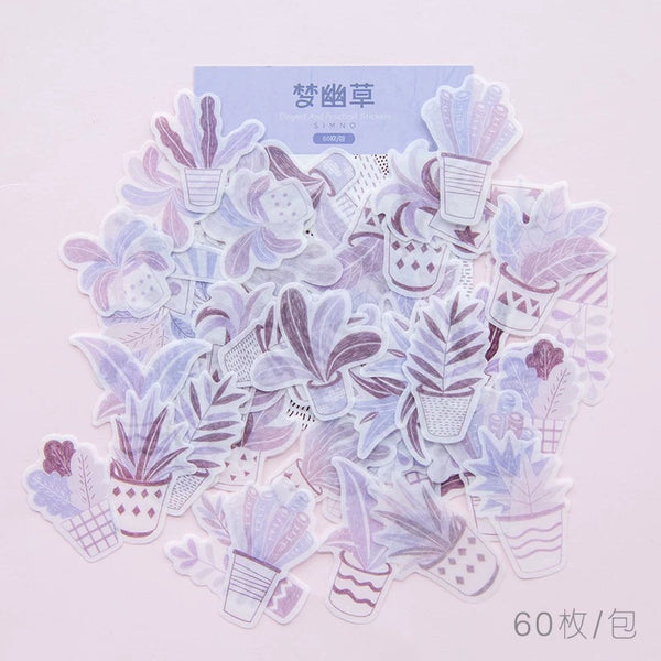 House Plant Washi Flake Sticker (60 pieces)