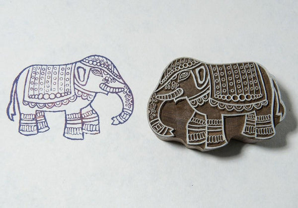Indian Elephant Blockwallah Block Stamp