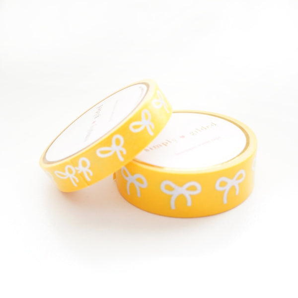 simply gilded WASHI TAPE 15/10mm BOW set - INTENSE YELLOW + silver holographic (May Release, Presale)
