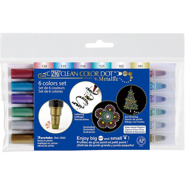 Kuretake ZIG Clean Color Dot Dual-Tip Markers Metallic 6/pkg