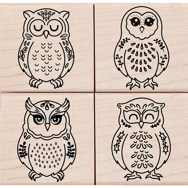 Four Owls Hero Arts Mounted Rubber Stamp Set