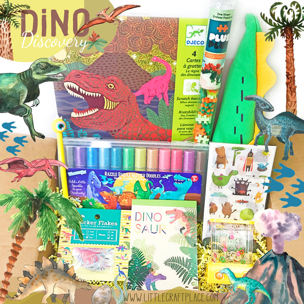 Little Craft Box series - Discover Dinosaurs Travel back to prehistoric times when dinosaurs ruled the earth million of years ago.  This ginormous collection is full of activity kits and art supplies that will wow any dino lover.