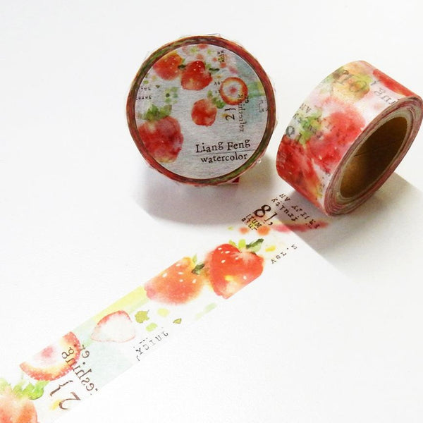 Strawberry Mint 小徑文化×Liang Feng Watercolor Path Round Top Masking Tape
