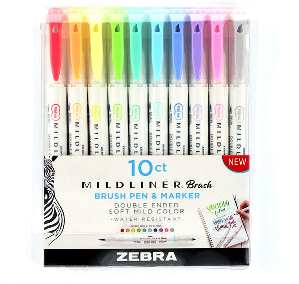 Zebra Pen Mildliner Double Ended Brush and Fine Tip Pen 10-Count